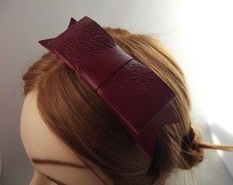 Red Leather Bow Headband