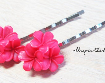 Flower Bobby Pins - Red Plumeria Bobby Pins - Red Bobby Pins - Red Flower Bobby Pins - Tropical Flower Bobby Pins