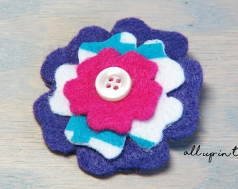 Flower Barrette - Pink Barrette - Purple Barrette - Felt Flower Barrette