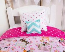 "Horse doll bedding, doll bed bedding, 18"" doll bedding set, 18 inch doll bedding, flannel doll blanket, doll pillow, girls birthday"