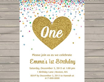 Gold 1st Birthday Invitation Girl, Any Age Confetti Gold Heart Girl First Birthday Invitation, Printable Digital JPEG P