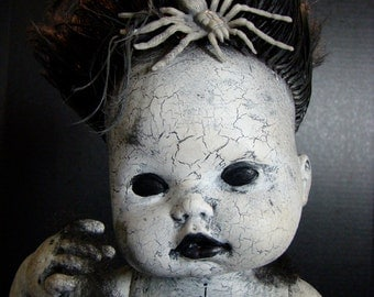 "Creepy Scary Halloween Doll OOAK Vintage ""Creepy Johnny"""