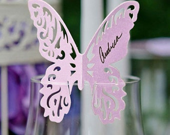 Delicate Romantic Butterfly Wedding Table Place Cards for Glasses Pack of 12
