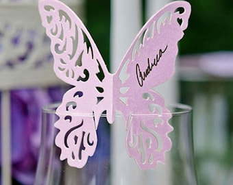 Delicate Romantic Butterfly Wedding Table Place Cards for Glasses - Pack of 12