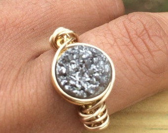 Gold Filled Druzy Ring Handmade 14K Ring Gold Filled , wire Wrapped jewelry.