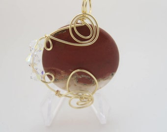 WSP-0209 Handmade Red Rainbow Jasper Pendant Wire Wrapped with Non Tarnish Gold Wire