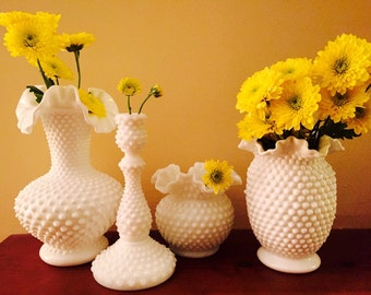 Gorgeous Collection of Vintage Fenton Hobnail Milk Glass, Three Different Flower Vases and a Tall Candlestick.