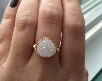 White/Crystal Pear Shaped Druzy Stone Wire Wrapped Ring