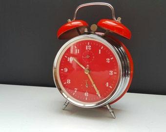 Sale - 15% off - Vintage  alarm clock - orange alarm clock - twin bell
