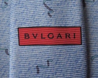 Bvlgari Tie Woven Silk Ribbon Swirl Pattern Baby Blue Vintage Designer Dress Davide Pizzigoni Necktie Made In Italy