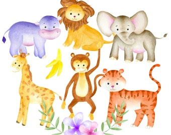 Jungle animals clipart, Watercolor animals clip art, Jungle clipart, Animal illustration, Elephant clipart, Safari Clipart, Zoo Clipart