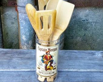 Upcycled Kitchen Decor Glass Utensil Holder - Crock from Recycled Captain Morgan Rum Liquor Bottle