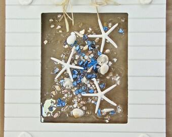 Starfish Beach Glass Art for Coastal Decor, Seashell Art with Starfish for Beach House, Beach Art on Glass, Beach Wedding Gift