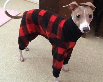 "Dog Pajamas.  ""Lumberjack Jams"". Italian Greyhound Pajamas. Dog Clothes. Pajamas for dogs. Small Dog Clothes. Coat for Dogs."