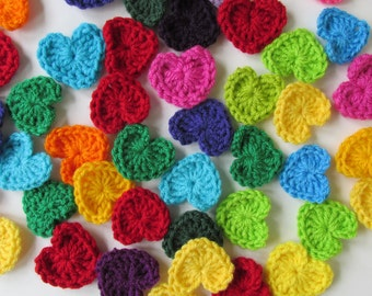 "Crochet hearts~Asst Colors or Your Pick~1.75""-3, 5, 10....200 appliques, motifs, sew onto hats, scarves, buntings"