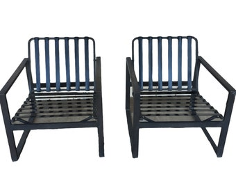 PAIR- Vintage Mid Century Modern Low Profile Rubber Strap and Iron Chairs