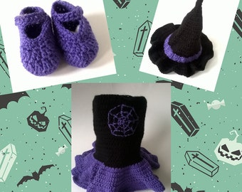 crochet witches costume,Halloween, Fancy dress