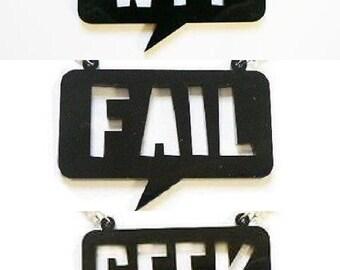 WTF Fail or Geek Speech Bubble Necklace