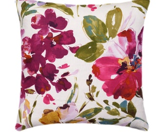 Floral Pillow Cover, Colorful Floral Pillow, Decorative Pillow, Colorful Floral Pillow Cover, Double Sided Watercolor Floral Pillow