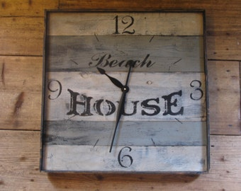 LARGE Reclaimed Wood Wall Clock  Free Shipping