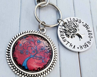 Tree of life keyring, family tree keyring, family keyring, tree keyring, family tree keychain, personalised tree of life keyring