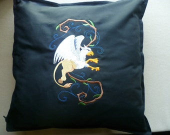 Enchanted Griffin Cushion Cover Embroidered Pillow Gryffin Gryphon Gryffindor