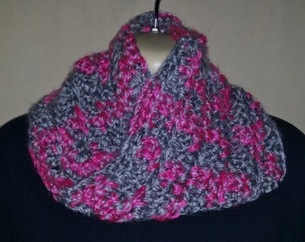 Soft & Warm Hand Knitted Infinity Scarf -Pink/Grey- Chunky Infinity Scarf ,