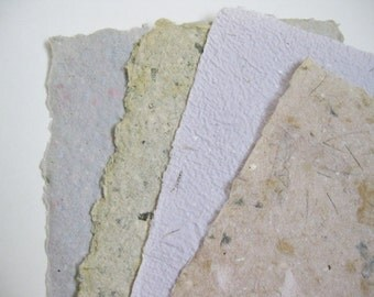 Handmade Paper Lot of 4 Pieces of Artist Made Paper Papermaking Art and Craft Supply Destash Scrapbooking Altered Bookmaking Lot HMP 612
