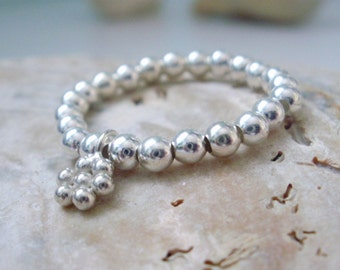 Sterling Silver Charm Ring, Sterling Silver Ball Beads & Daisy Flower Charm Ring, Stretch Stacking Ring, girlfriend gift , gift for her