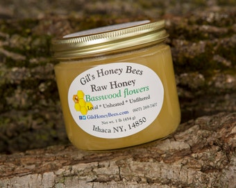 Raw basswood honey, 1 lb jar. Unheated, unfiltered. From the Finger Lakes NY