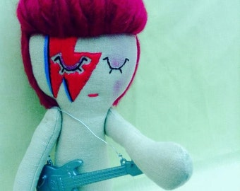 David Bowie/Ziggy Stardust/Aladdin Sane Icon Doll. Cloth Doll.