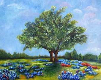 Bluebonnets on Texas Hill country Original oil painting Bluebonnet painting Texas landscape painting Texas bluebonnets Canvas TX art 24x30