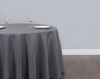 120 Inch Round Charcoal Gray Tablecloth Polyester | Wedding Tablecloth