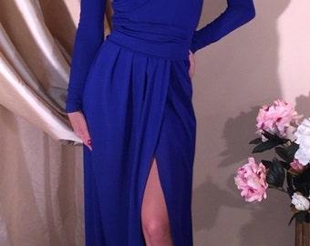 Royal Blue Maxi Dress Slit V-Neck Long Sleeves