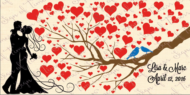 wedding svg guest book svg ai valentine heart tree love