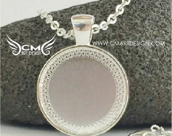 """ONE Necklace Base - Silver Interchangeable Magnetic Button Necklace Pendant Base with 18"""" Silver ROLO Chain - holds any of Magnet Buttons"""