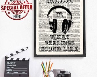 Music Wall Art, Music Wall Quote, Music Art, Music Decor, Dictionary Print, Wall Art Print, Typography Art, Music Quote Print, 536