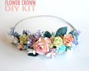 Pastel Kids Flower Crown DIY Kit- Pastel Flower Crown- Easter Headband- Boho Wedding Flower Crown- Pastel Wedding Headpiece