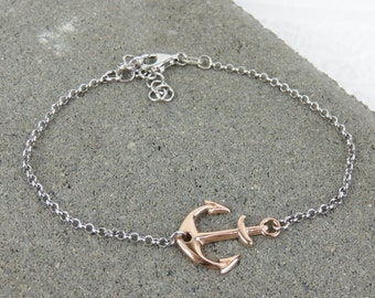 Nautical Anchor Bracelet - Silver or Rose Gold