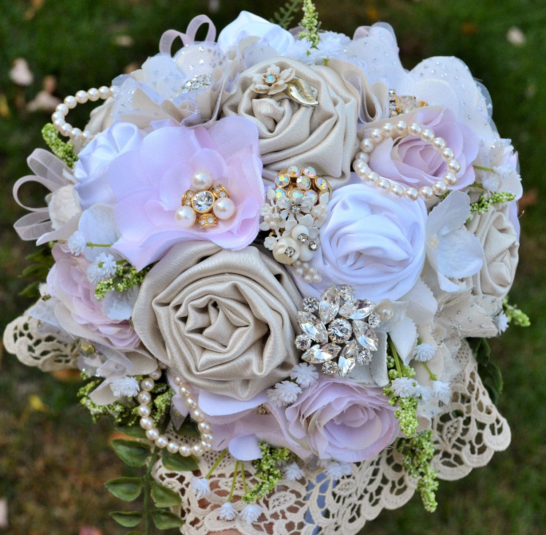 Classic Wedding Bouquets: Elegant Vintage Bridal Bouquet Fabric Flower Brooch Bouquet