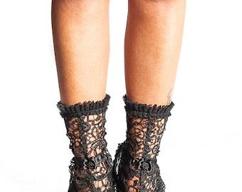 Lace black gaiters