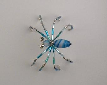 Blue beaded spider - home decor