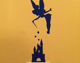 Tinker bell decal, Disney character, castle decal, FREE SHIPPING, sticker decal, vinyl decal, light switch decal, home decor decal,  #251