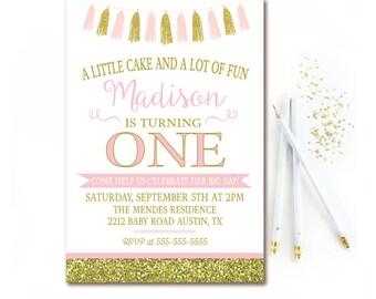 Pink & Gold Birthday Party Invitation - Tassel Birthday Invite - Gold Glitter Birthday - 1st Girls Birthday Invitation - Printable