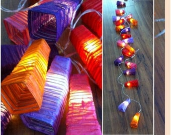 20er LED light-chain with handmade lampshades / lanterns
