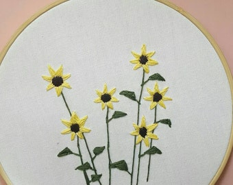 Sun flower Hand embroidery 8""