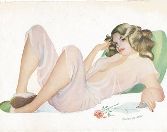 Stunning Original 1950s Double-Sided Glamour Girl/Pin-Up Print - Choose Your Favourite Lady
