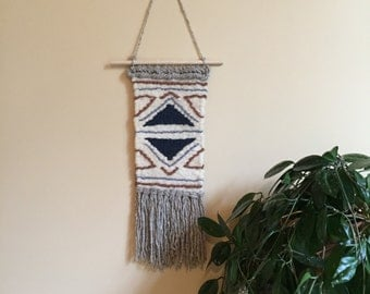 SALE//Long Hand Woven Wall Hanging / Tapestry / Weaving // Cream / Navy Blue / Orange / Light Blue / Brown