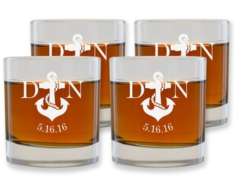 Personalized Rocks Glass - Custom Scotch Glass - Engraved Glassware - Anchor Initials - Gift for Sailors - Tristen Design GW124 - Set of 4
