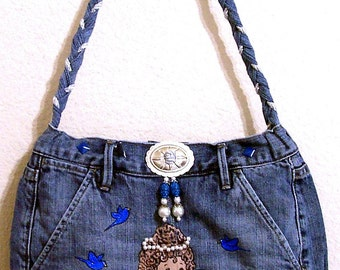 ANGEL -- Denim Handbag -- Item Number 1224 -- 16 Pockets